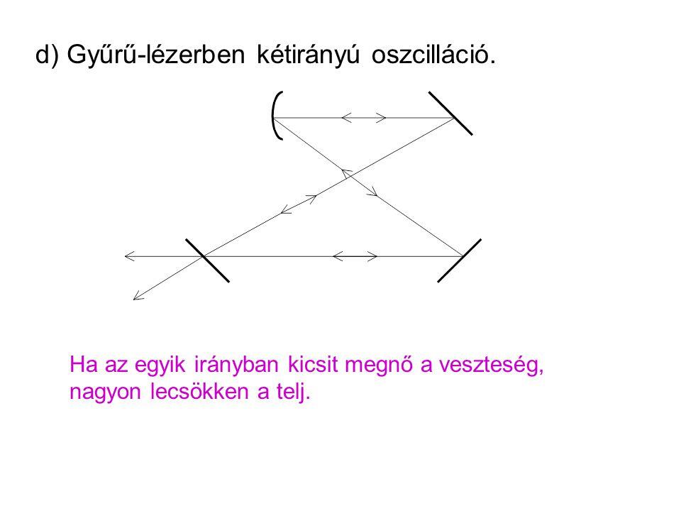 d) Gyűrű-lézerben kétirányú oszcilláció. Ha az egyik irányban kicsit megnő a veszteség, nagyon lecsökken a telj.