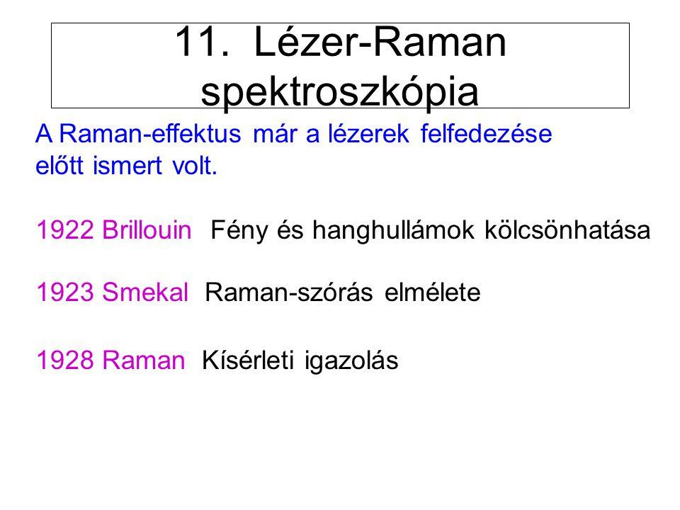 11. Lézer-Raman spektroszkópia A Raman-effektus már a lézerek felfedezése előtt ismert volt. 1922 Brillouin Fény és hanghullámok kölcsönhatása 1923 Sm