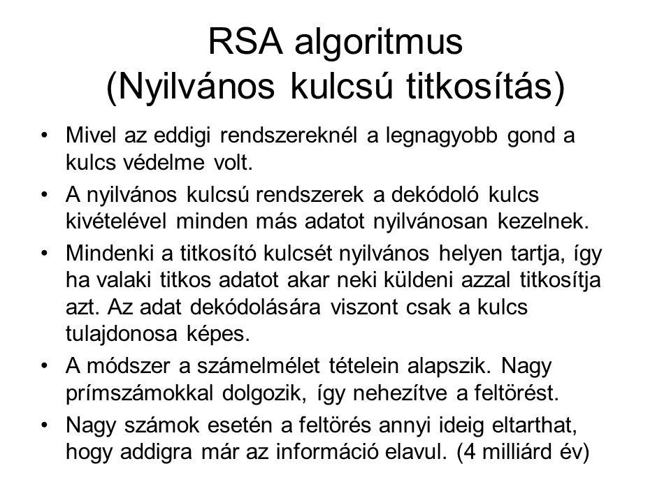RSA algoritmus (Nyilvános kulcsú titkosítás) Mivel az eddigi rendszereknél a legnagyobb gond a kulcs védelme volt. A nyilvános kulcsú rendszerek a dek