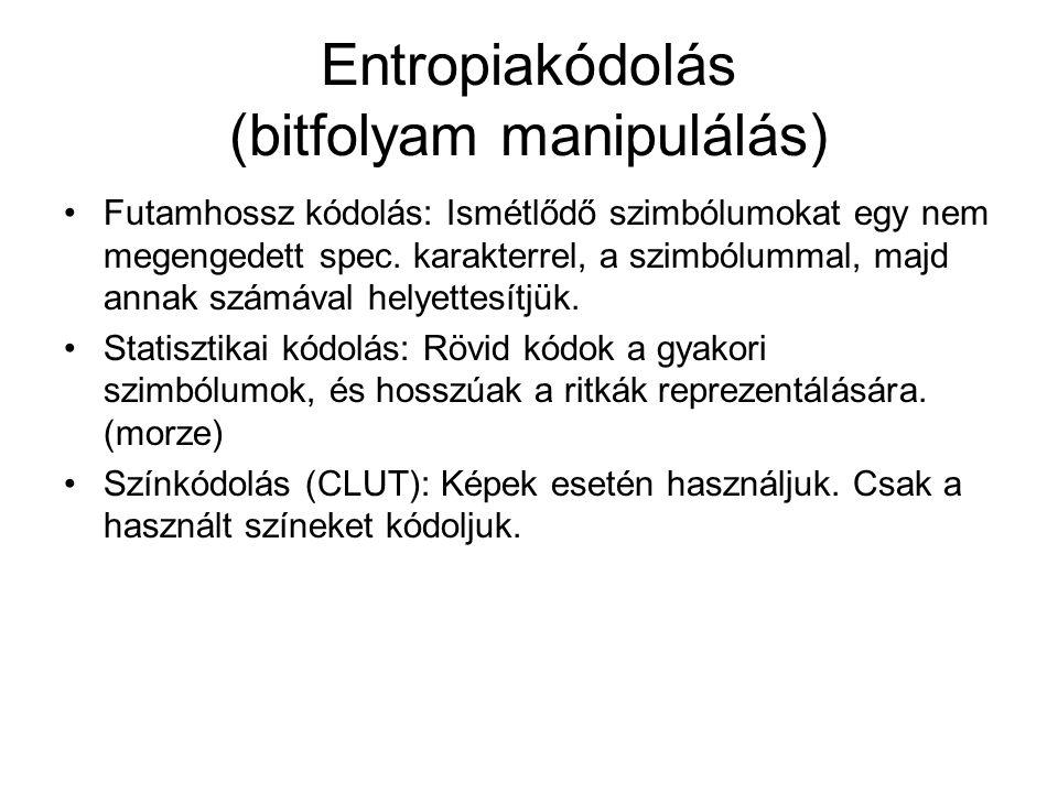 Entropiakódolás (bitfolyam manipulálás) Futamhossz kódolás: Ismétlődő szimbólumokat egy nem megengedett spec. karakterrel, a szimbólummal, majd annak