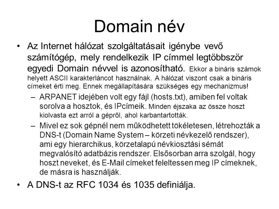 Domain név Az Internet hálózat szolgáltatásait igénybe vevő számítógép, mely rendelkezik IP címmel legtöbbször egyedi Domain névvel is azonosítható. E
