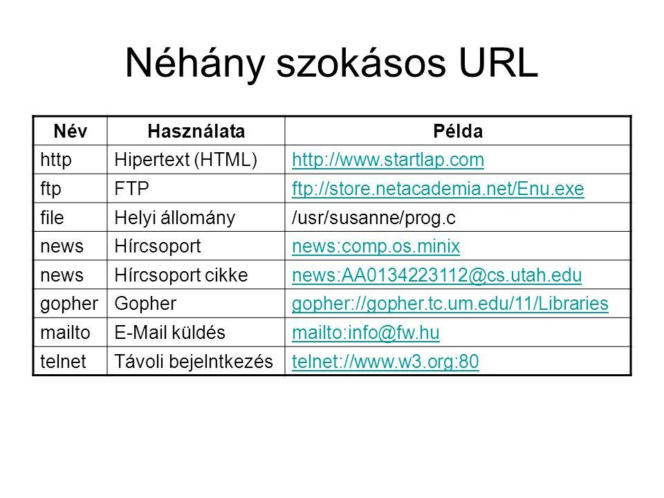 Néhány szokásos URL NévHasználataPélda httpHipertext (HTML)http://www.startlap.com ftpFTPftp://store.netacademia.net/Enu.exe fileHelyi állomány/usr/su