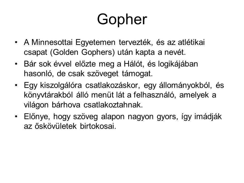 Gopher A Minnesottai Egyetemen tervezték, és az atlétikai csapat (Golden Gophers) után kapta a nevét. Bár sok évvel előzte meg a Hálót, és logikájában