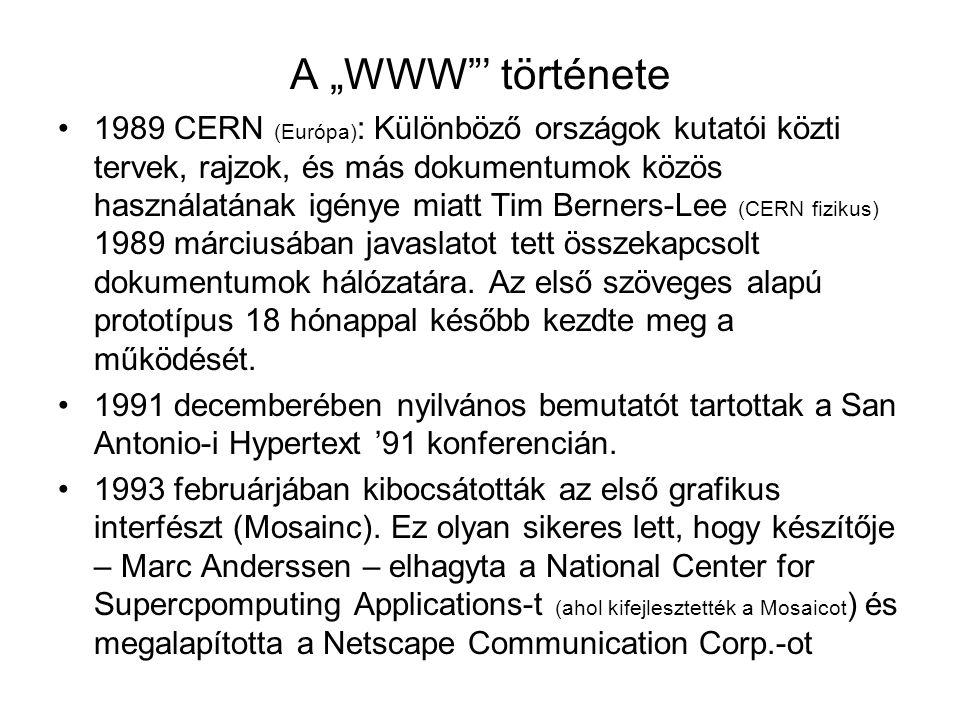 """A """"WWW""""' története 1989 CERN (Európa) : Különböző országok kutatói közti tervek, rajzok, és más dokumentumok közös használatának igénye miatt Tim Bern"""