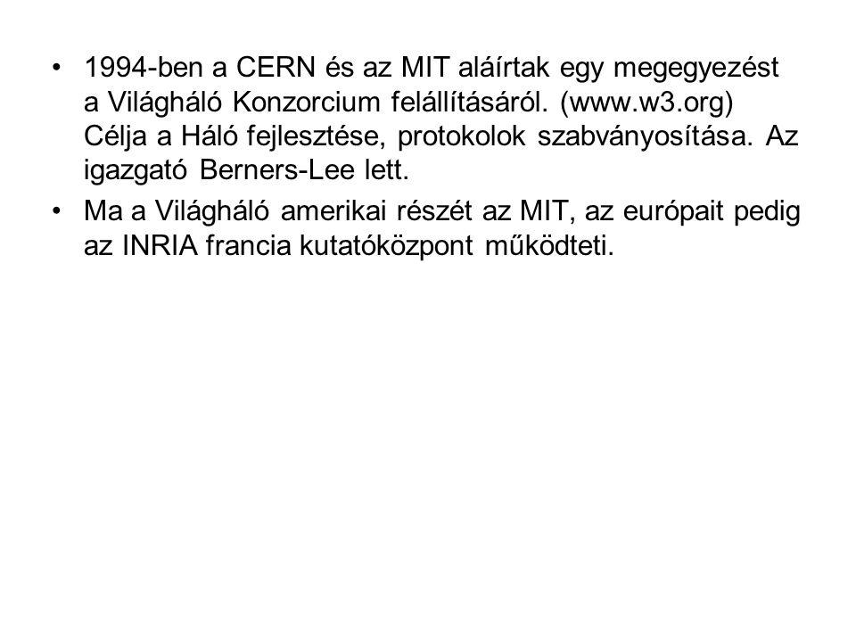 1994-ben a CERN és az MIT aláírtak egy megegyezést a Világháló Konzorcium felállításáról. (www.w3.org) Célja a Háló fejlesztése, protokolok szabványos