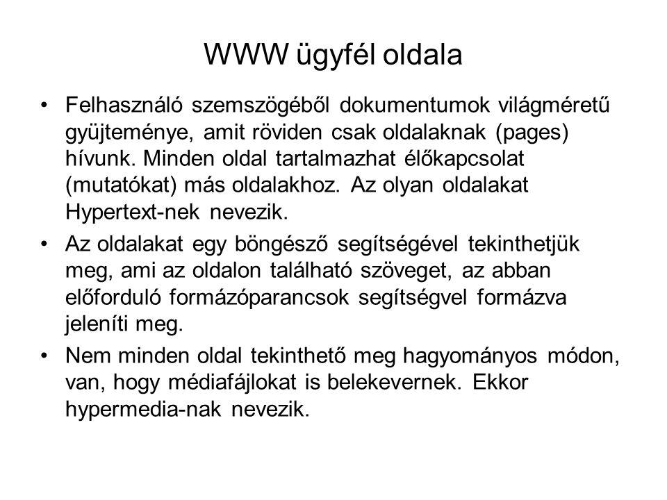 WWW ügyfél oldala Felhasználó szemszögéből dokumentumok világméretű gyüjteménye, amit röviden csak oldalaknak (pages) hívunk. Minden oldal tartalmazha