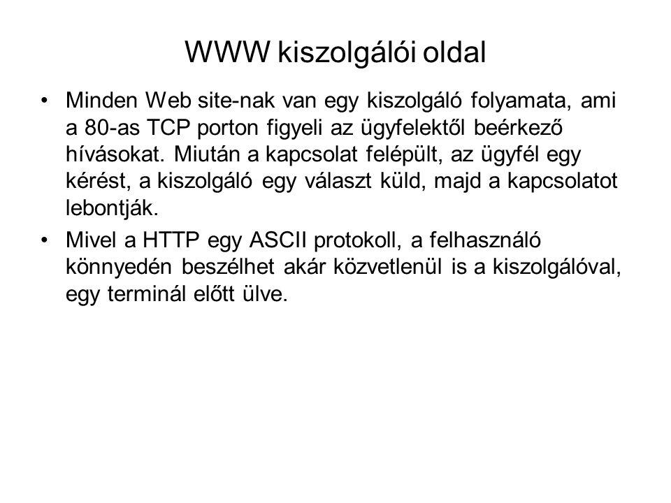 WWW kiszolgálói oldal Minden Web site-nak van egy kiszolgáló folyamata, ami a 80-as TCP porton figyeli az ügyfelektől beérkező hívásokat. Miután a kap