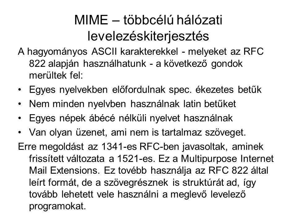 MIME – többcélú hálózati levelezéskiterjesztés A hagyományos ASCII karakterekkel - melyeket az RFC 822 alapján használhatunk - a következő gondok merü