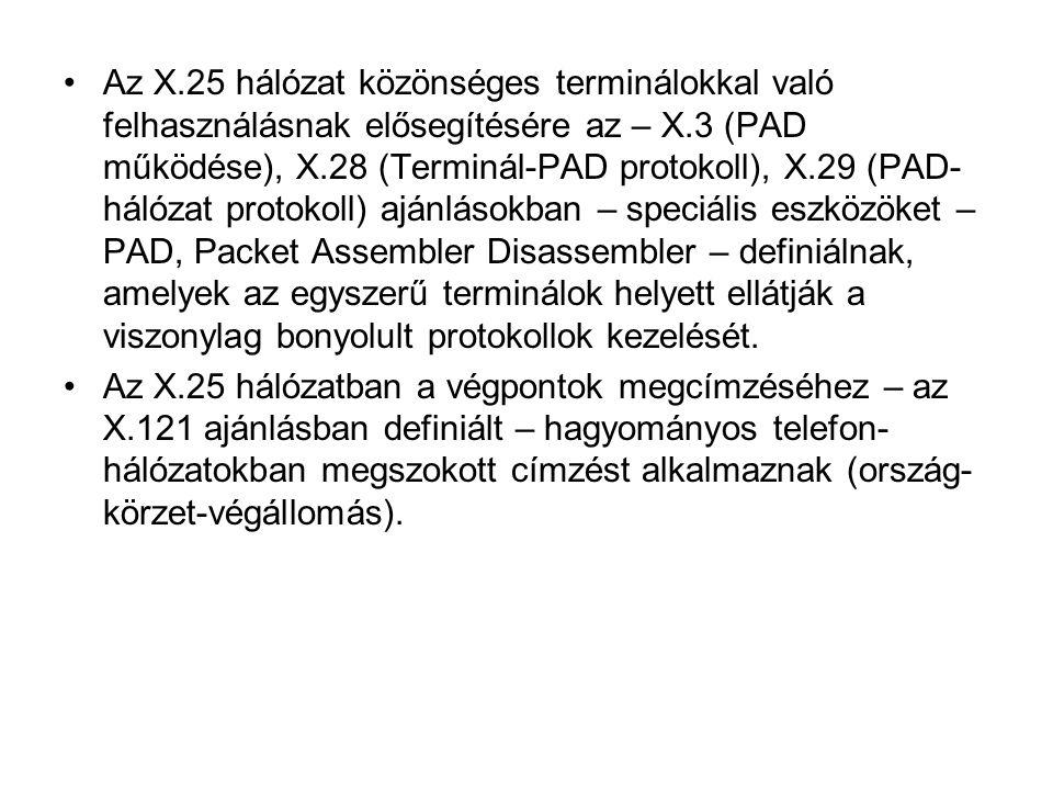 Az X.25 hálózat közönséges terminálokkal való felhasználásnak elősegítésére az – X.3 (PAD működése), X.28 (Terminál-PAD protokoll), X.29 (PAD- hálózat protokoll) ajánlásokban – speciális eszközöket – PAD, Packet Assembler Disassembler – definiálnak, amelyek az egyszerű terminálok helyett ellátják a viszonylag bonyolult protokollok kezelését.