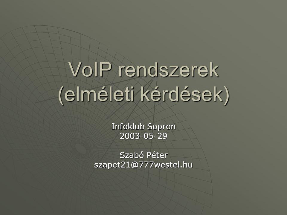 VoIP rendszerek (elméleti kérdések) Infoklub Sopron 2003-05-29 Szabó Péter szapet21@777westel.hu