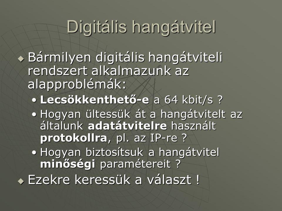 Digitális hangátvitel  Bármilyen digitális hangátviteli rendszert alkalmazunk az alapproblémák: Lecsökkenthető-e a 64 kbit/s ?Lecsökkenthető-e a 64 kbit/s .