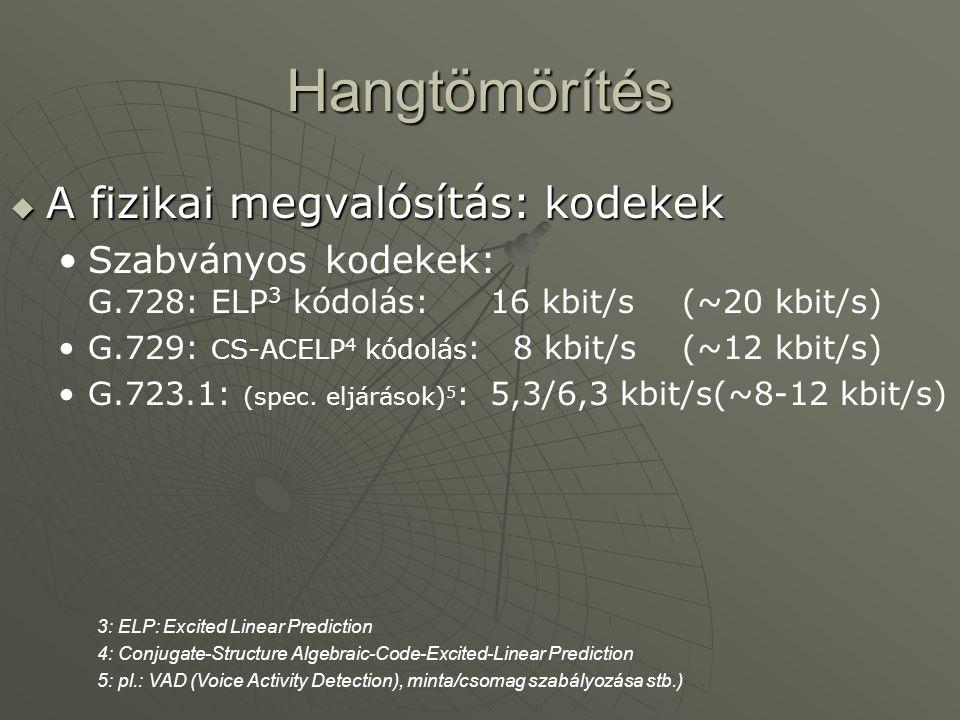 Hangtömörítés  A fizikai megvalósítás: kodekek Szabványos kodekek: G.728: ELP 3 kódolás: 16 kbit/s(~20 kbit/s) G.729: CS-ACELP 4 kódolás : 8 kbit/s(~12 kbit/s) G.723.1: (spec.