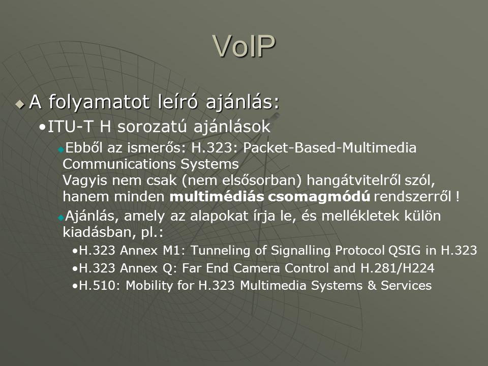 VoIP  A folyamatot leíró ajánlás: ITU-T H sorozatú ajánlások   Ebből az ismerős: H.323: Packet-Based-Multimedia Communications Systems Vagyis nem csak (nem elsősorban) hangátvitelről szól, hanem minden multimédiás csomagmódú rendszerről .