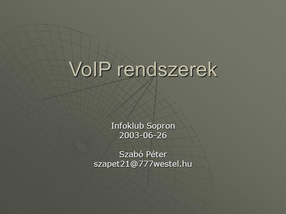 VoIP rendszerek Infoklub Sopron 2003-06-26 Szabó Péter szapet21@777westel.hu