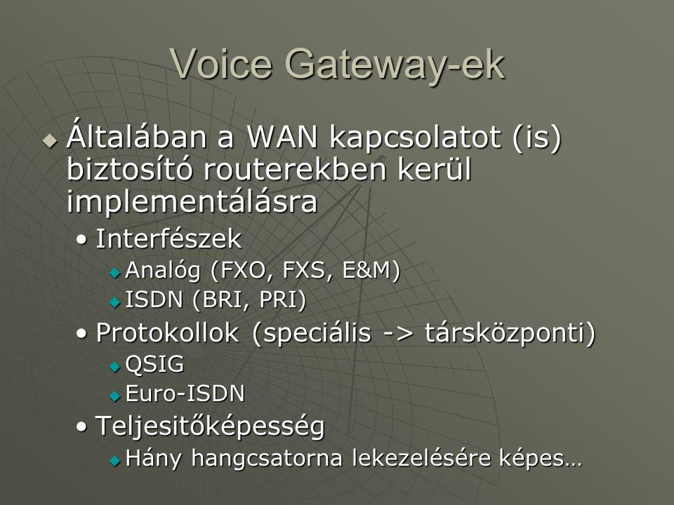 Voice Gateway-ek  Általában a WAN kapcsolatot (is) biztosító routerekben kerül implementálásra InterfészekInterfészek  Analóg (FXO, FXS, E&M)  ISDN (BRI, PRI) Protokollok (speciális -> társközponti)Protokollok (speciális -> társközponti)  QSIG  Euro-ISDN TeljesitőképességTeljesitőképesség  Hány hangcsatorna lekezelésére képes…