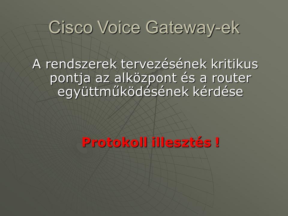 Cisco Voice Gateway-ek A rendszerek tervezésének kritikus pontja az alközpont és a router együttműködésének kérdése Protokoll illesztés !