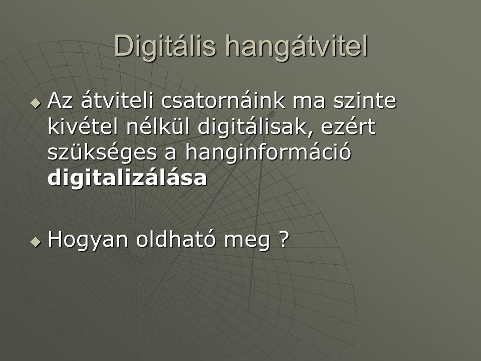 Digitális hangátvitel  Az átviteli csatornáink ma szinte kivétel nélkül digitálisak, ezért szükséges a hanginformáció digitalizálása  Hogyan oldható meg ?