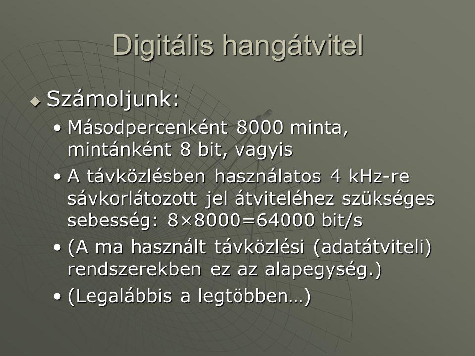 Digitális hangátvitel  Számoljunk: Másodpercenként 8000 minta, mintánként 8 bit, vagyisMásodpercenként 8000 minta, mintánként 8 bit, vagyis A távközlésben használatos 4 kHz-re sávkorlátozott jel átviteléhez szükséges sebesség: 8×8000=64000 bit/sA távközlésben használatos 4 kHz-re sávkorlátozott jel átviteléhez szükséges sebesség: 8×8000=64000 bit/s (A ma használt távközlési (adatátviteli) rendszerekben ez az alapegység.)(A ma használt távközlési (adatátviteli) rendszerekben ez az alapegység.) (Legalábbis a legtöbben…)(Legalábbis a legtöbben…)