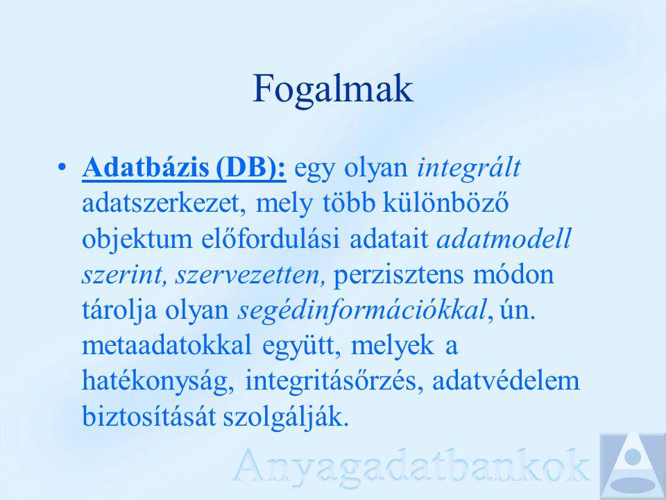 Fogalmak Adatbázis (DB): egy olyan integrált adatszerkezet, mely több különböző objektum előfordulási adatait adatmodell szerint, szervezetten, perzis