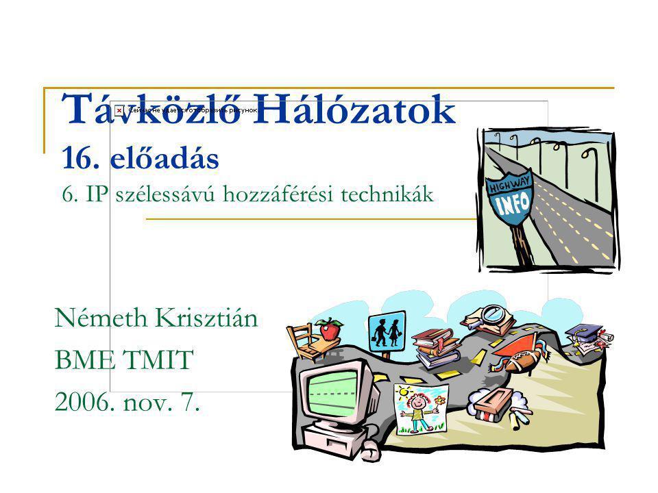 Távközlő Hálózatok 16. előadás 6. IP szélessávú hozzáférési technikák Németh Krisztián BME TMIT 2006. nov. 7.