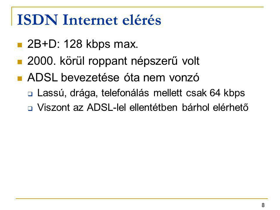 8 ISDN Internet elérés 2B+D: 128 kbps max. 2000. körül roppant népszerű volt ADSL bevezetése óta nem vonzó  Lassú, drága, telefonálás mellett csak 64