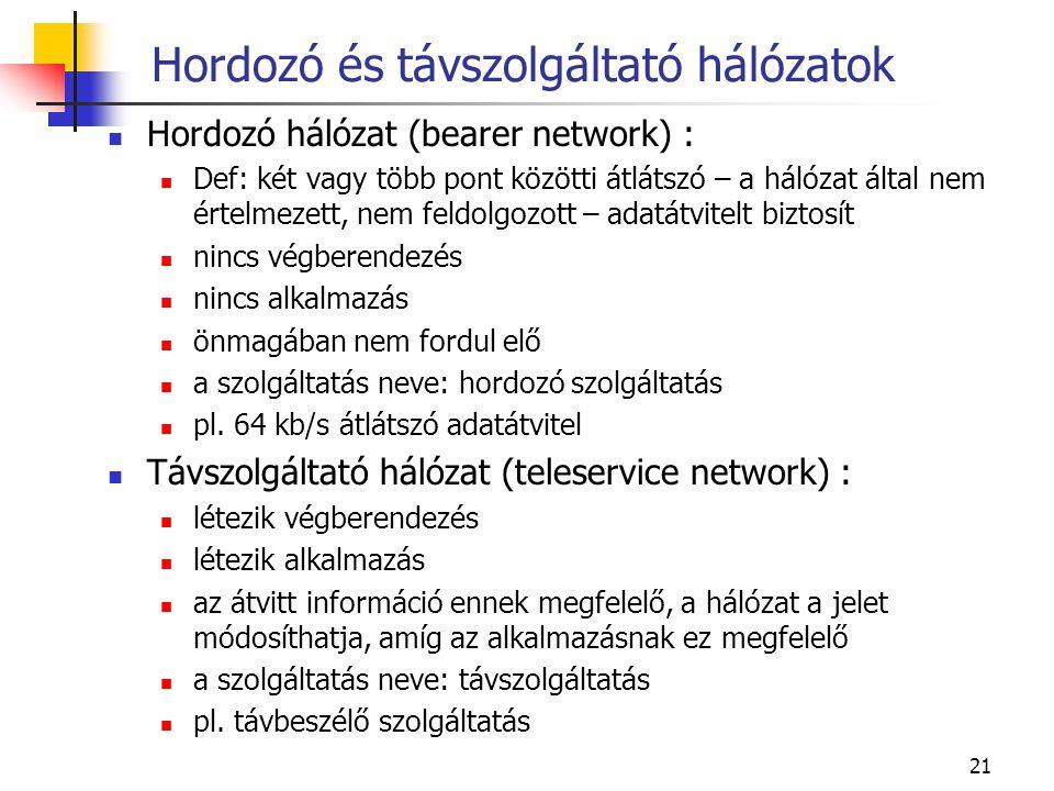 21 Hordozó és távszolgáltató hálózatok Hordozó hálózat (bearer network) : Def: két vagy több pont közötti átlátszó – a hálózat által nem értelmezett, nem feldolgozott – adatátvitelt biztosít nincs végberendezés nincs alkalmazás önmagában nem fordul elő a szolgáltatás neve: hordozó szolgáltatás pl.
