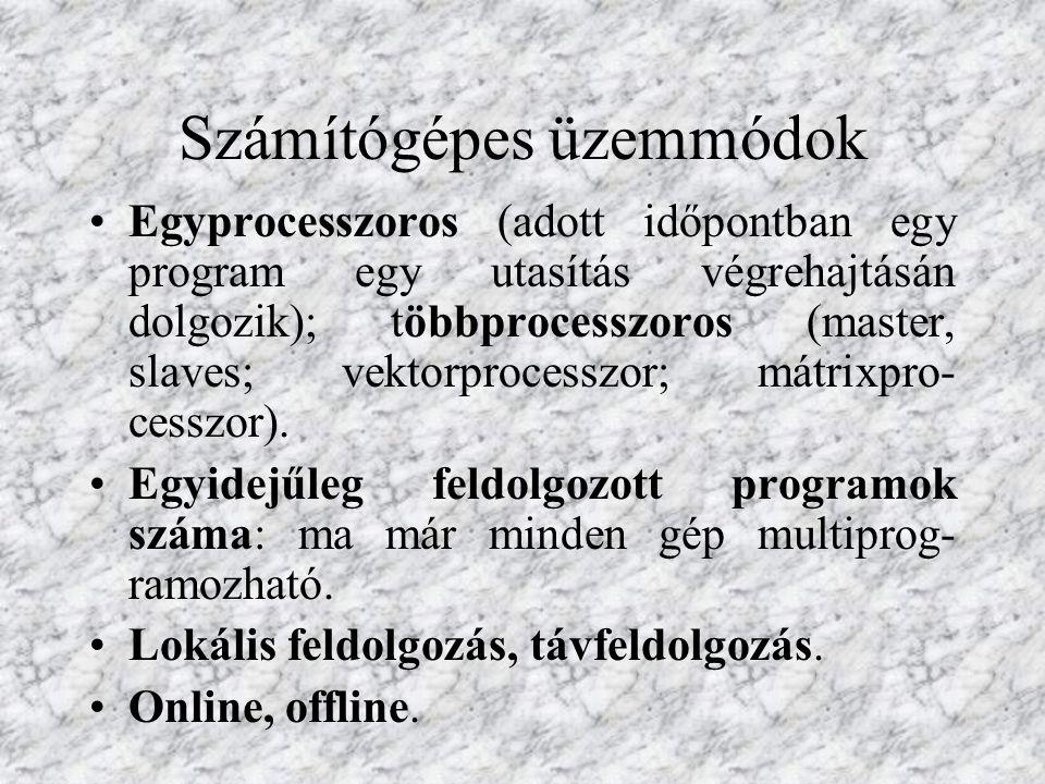 Számítógépes üzemmódok Egyprocesszoros (adott időpontban egy program egy utasítás végrehajtásán dolgozik); többprocesszoros (master, slaves; vektorpro