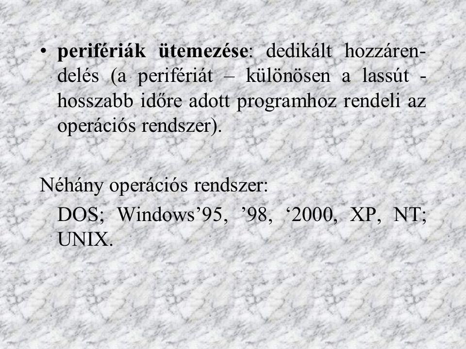 perifériák ütemezése: dedikált hozzáren- delés (a perifériát – különösen a lassút - hosszabb időre adott programhoz rendeli az operációs rendszer). Né