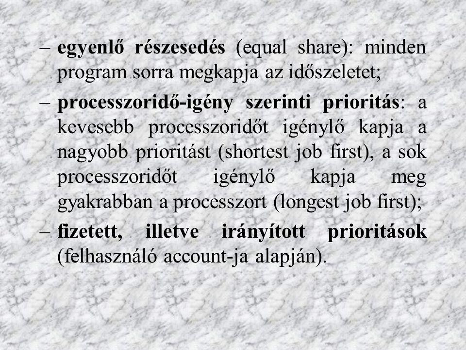 perifériák ütemezése: dedikált hozzáren- delés (a perifériát – különösen a lassút - hosszabb időre adott programhoz rendeli az operációs rendszer).