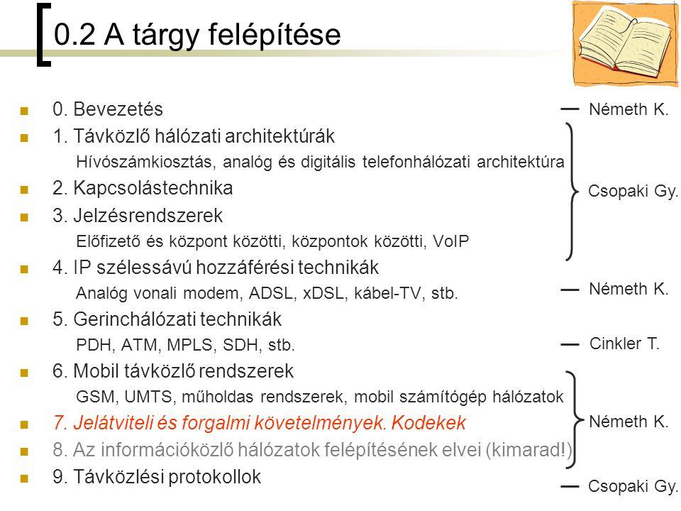 2 0.2 A tárgy felépítése 0. Bevezetés 1. Távközlő hálózati architektúrák Hívószámkiosztás, analóg és digitális telefonhálózati architektúra 2. Kapcsol