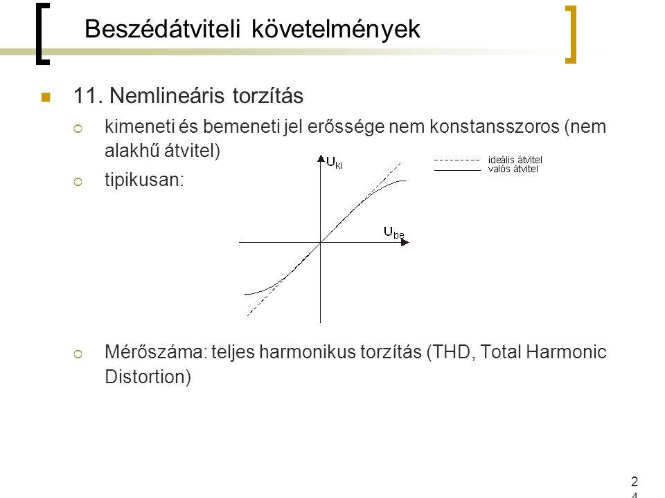 24 11. Nemlineáris torzítás  kimeneti és bemeneti jel erőssége nem konstansszoros (nem alakhű átvitel)  tipikusan:  Mérőszáma: teljes harmonikus to