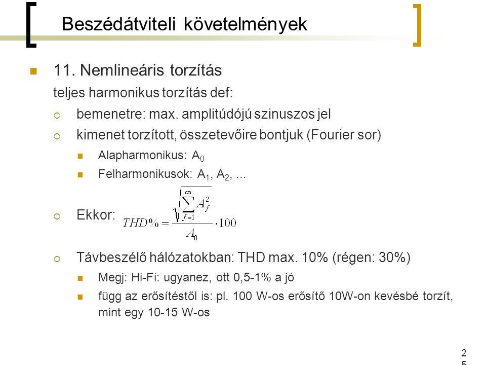 25 11. Nemlineáris torzítás teljes harmonikus torzítás def:  bemenetre: max. amplitúdójú szinuszos jel  kimenet torzított, összetevőire bontjuk (Fou