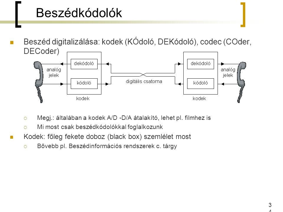 34 Beszéd digitalizálása: kodek (KÓdoló, DEKódoló), codec (COder, DECoder)  Megj.: általában a kodek A/D -D/A átalakító, lehet pl. filmhez is  Mi mo