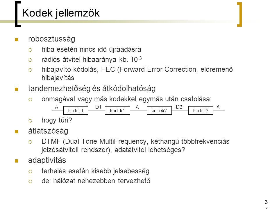 37 Kodek jellemzők robosztusság  hiba esetén nincs idő újraadásra  rádiós átvitel hibaaránya kb. 10 -3  hibajavító kódolás, FEC (Forward Error Corr