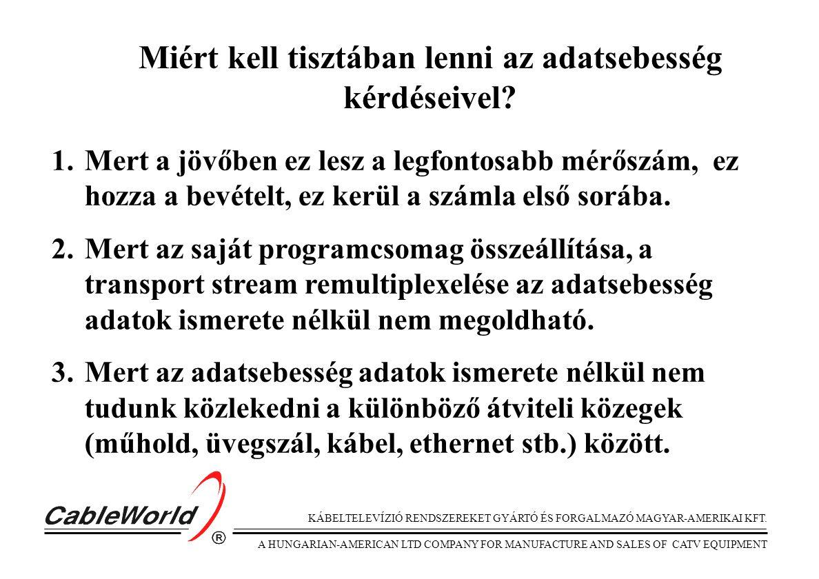 KÁBELTELEVÍZIÓ RENDSZEREKET GYÁRTÓ ÉS FORGALMAZÓ MAGYAR-AMERIKAI KFT. A HUNGARIAN-AMERICAN LTD COMPANY FOR MANUFACTURE AND SALES OF CATV EQUIPMENT Mié