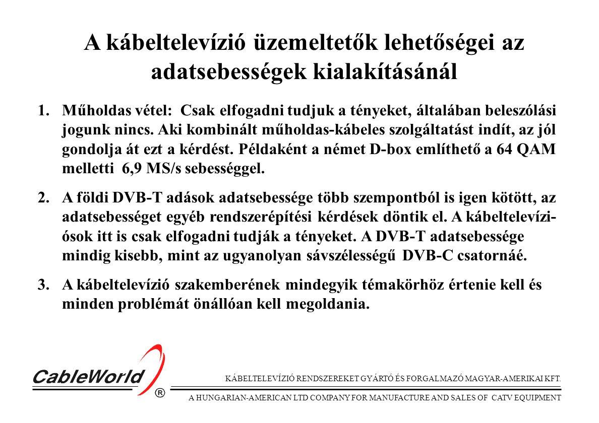 KÁBELTELEVÍZIÓ RENDSZEREKET GYÁRTÓ ÉS FORGALMAZÓ MAGYAR-AMERIKAI KFT. A HUNGARIAN-AMERICAN LTD COMPANY FOR MANUFACTURE AND SALES OF CATV EQUIPMENT A k