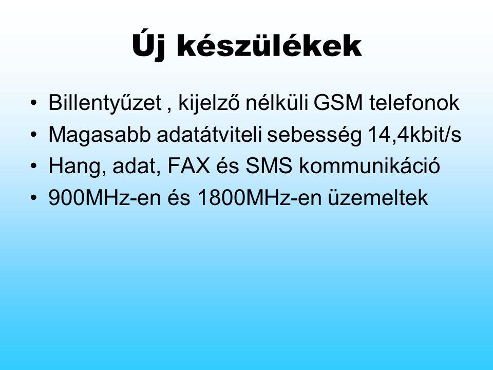Új készülékek Billentyűzet, kijelző nélküli GSM telefonok Magasabb adatátviteli sebesség 14,4kbit/s Hang, adat, FAX és SMS kommunikáció 900MHz-en és 1800MHz-en üzemeltek