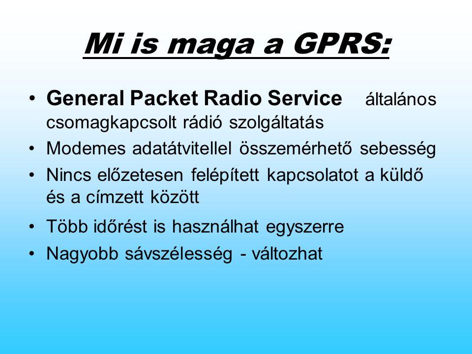 Mi is maga a GPRS: General Packet Radio Service  általános csomagkapcsolt rádió szolgáltatás Modemes adatátvitellel összemérhető sebesség Nincs előzetesen felépített kapcsolatot a küldő és a címzett között Több időrést is használhat egyszerre Nagyobb sávszélesség - változhat
