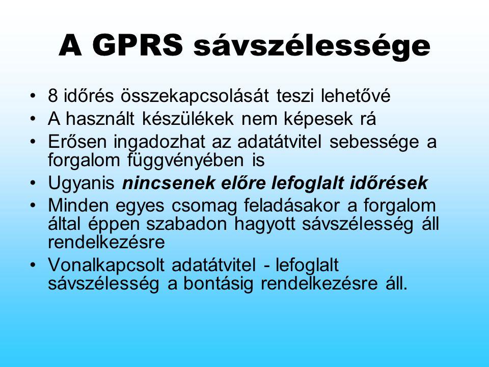 A GPRS sávszélessége 8 időrés összekapcsolását teszi lehetővé A használt készülékek nem képesek rá Erősen ingadozhat az adatátvitel sebessége a forgalom függvényében is Ugyanis nincsenek előre lefoglalt időrések Minden egyes csomag feladásakor a forgalom által éppen szabadon hagyott sávszélesség áll rendelkezésre Vonalkapcsolt adatátvitel - lefoglalt sávszélesség a bontásig rendelkezésre áll.