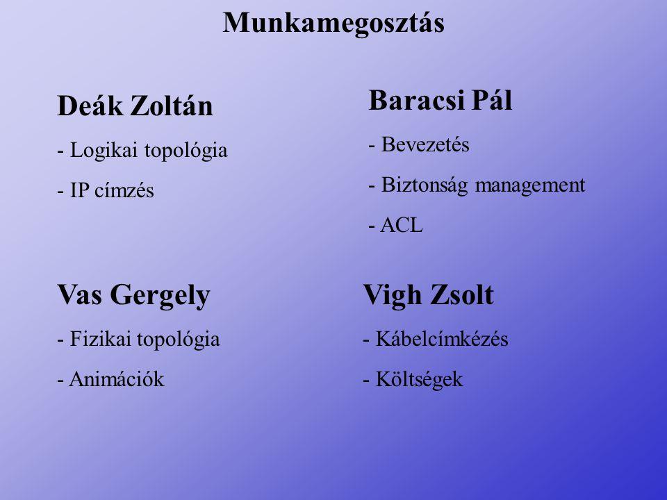 Munkamegosztás Deák Zoltán - Logikai topológia - IP címzés Baracsi Pál - Bevezetés - Biztonság management - ACL Vas Gergely - Fizikai topológia - Anim