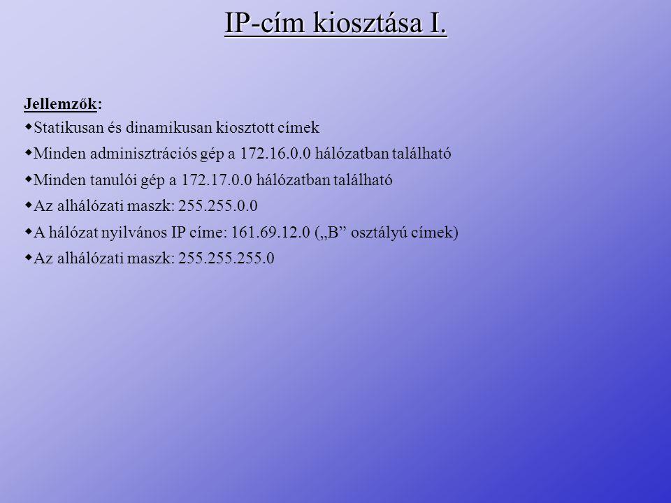 IP-cím kiosztása I. Jellemzők:  Statikusan és dinamikusan kiosztott címek  Minden adminisztrációs gép a 172.16.0.0 hálózatban található  Minden tan