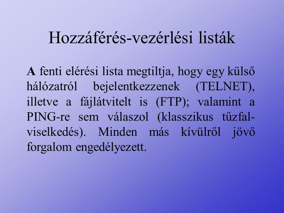 Hozzáférés-vezérlési listák A fenti elérési lista megtiltja, hogy egy külső hálózatról bejelentkezzenek (TELNET), illetve a fájlátvitelt is (FTP); val