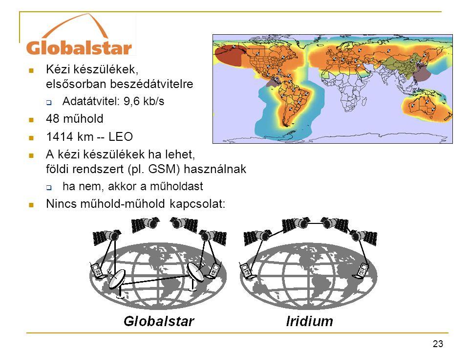 23 Kézi készülékek, elsősorban beszédátvitelre  Adatátvitel: 9,6 kb/s 48 műhold 1414 km -- LEO A kézi készülékek ha lehet, földi rendszert (pl.
