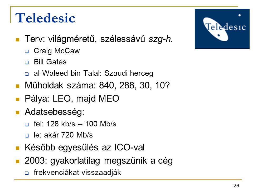 26 Teledesic Terv: világméretű, szélessávú szg-h.