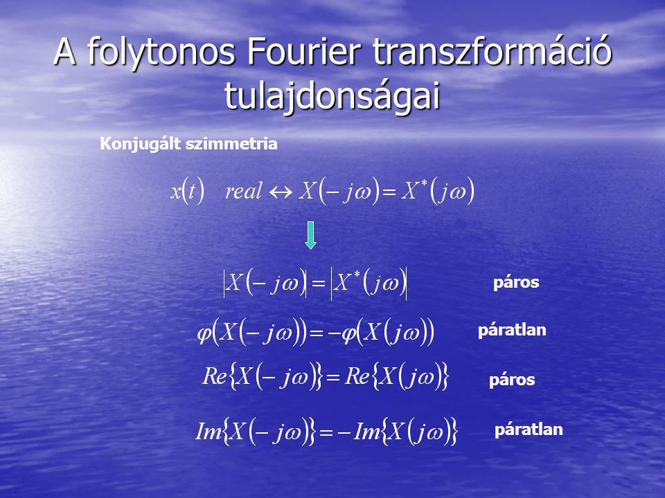 A folytonos Fourier transzformáció tulajdonságai Konjugált szimmetria páros páratlan páros páratlan