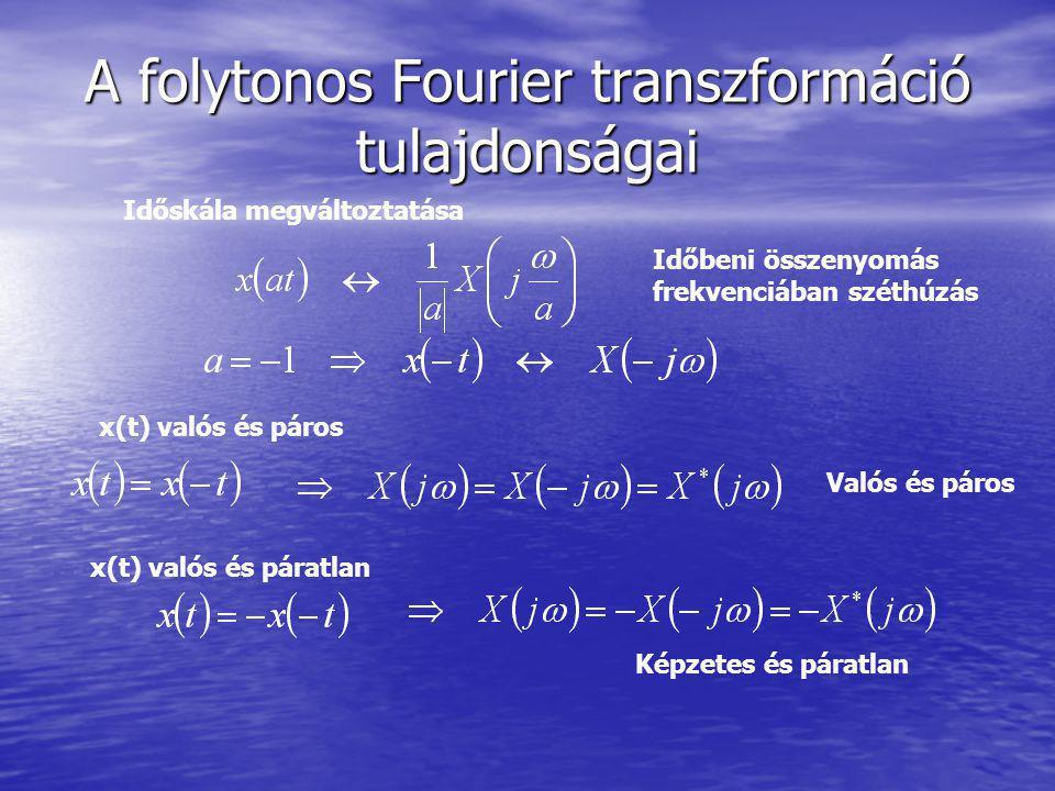 A folytonos Fourier transzformáció tulajdonságai Időskála megváltoztatása Időbeni összenyomás frekvenciában széthúzás x(t) valós és páros Valós és páros x(t) valós és páratlan Képzetes és páratlan