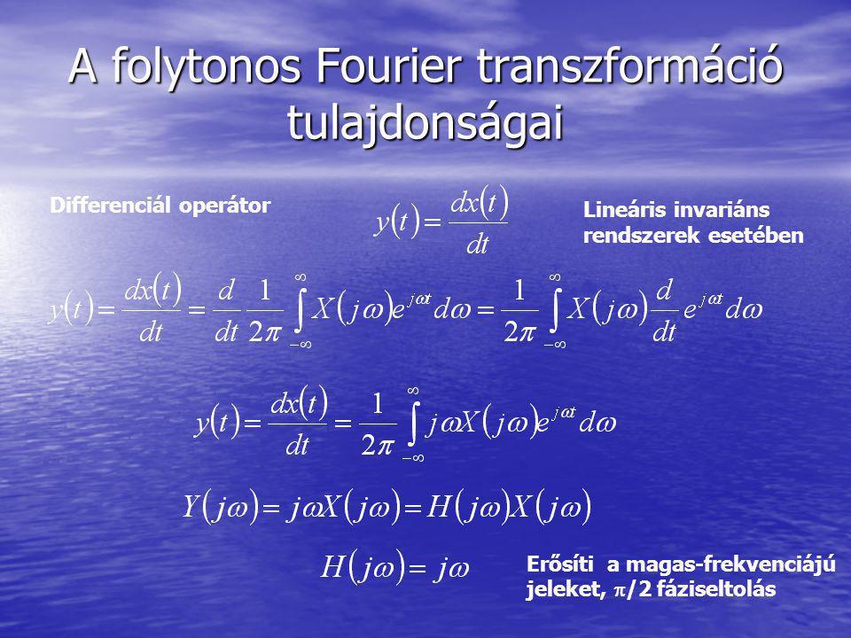 A folytonos Fourier transzformáció tulajdonságai Differenciál operátor Lineáris invariáns rendszerek esetében Erősíti a magas-frekvenciájú jeleket, 