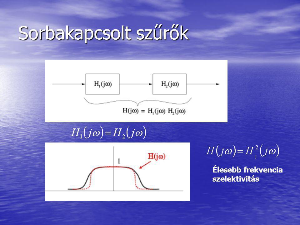 Sorbakapcsolt szűrők Élesebb frekvencia szelektivitás
