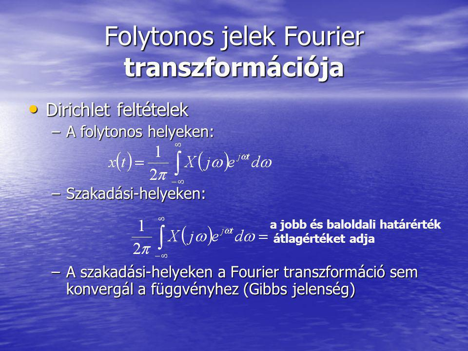 Folytonos jelek Fourier transzformációja Dirichlet feltételek Dirichlet feltételek –A folytonos helyeken: –Szakadási-helyeken: –A szakadási-helyeken a Fourier transzformáció sem konvergál a függvényhez (Gibbs jelenség) a jobb és baloldali határérték átlagértéket adja