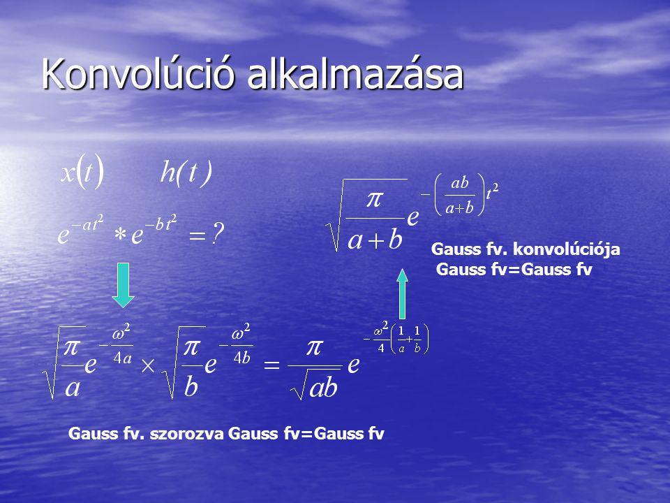 Konvolúció alkalmazása Gauss fv. szorozva Gauss fv=Gauss fv Gauss fv. konvolúciója Gauss fv=Gauss fv